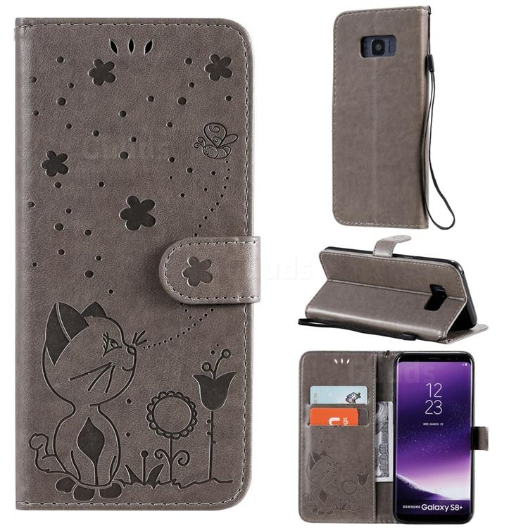 Embossing Bee and Cat Leather Wallet Case for Samsung Galaxy S8 Plus S8+ - Gray