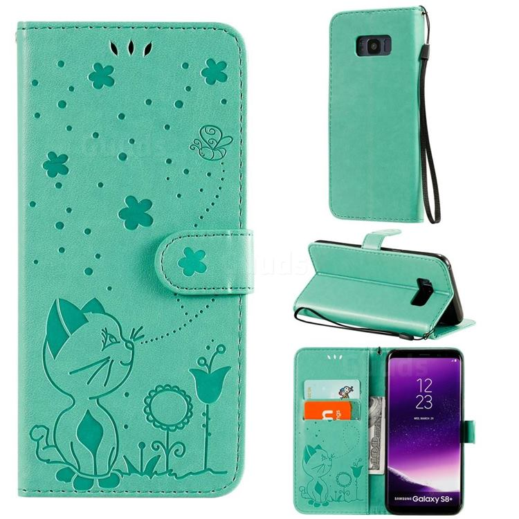 Embossing Bee and Cat Leather Wallet Case for Samsung Galaxy S8 Plus S8+ - Green