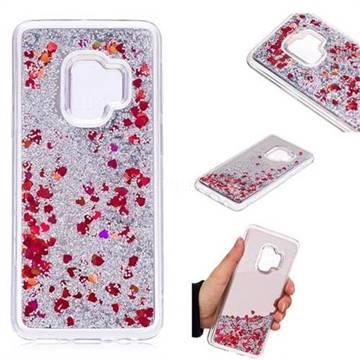 Glitter Sand Mirror Quicksand Dynamic Liquid Star TPU Case for Samsung Galaxy S9 - Red