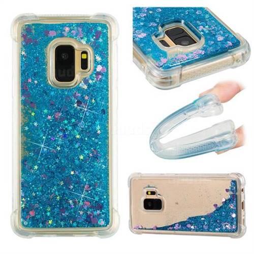 Dynamic Liquid Glitter Sand Quicksand TPU Case for Samsung Galaxy S9 - Blue Love Heart