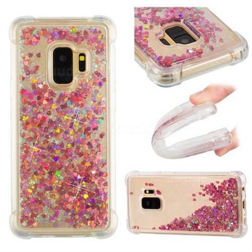 Dynamic Liquid Glitter Sand Quicksand TPU Case for Samsung Galaxy S9 - Rose Gold Love Heart