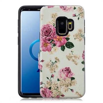 Rose Flower Pattern 2 in 1 PC + TPU Glossy Embossed Back Cover for Samsung Galaxy S9