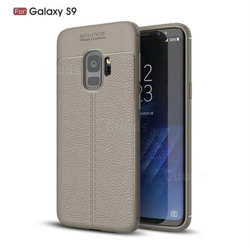 Luxury Auto Focus Litchi Texture Silicone TPU Back Cover for Samsung Galaxy S9 - Gray