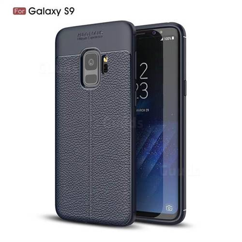 Luxury Auto Focus Litchi Texture Silicone TPU Back Cover for Samsung Galaxy S9 - Dark Blue