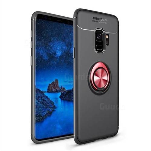 Auto Focus Invisible Ring Holder Soft Phone Case for Samsung Galaxy S9 - Black Red