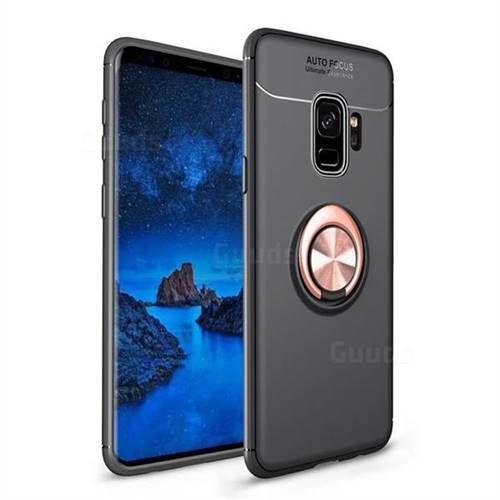Auto Focus Invisible Ring Holder Soft Phone Case for Samsung Galaxy S9 - Black Gold