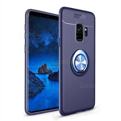 Auto Focus Invisible Ring Holder Soft Phone Case for Samsung Galaxy S9 - Blue