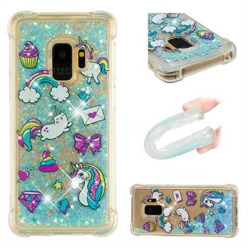 Fashion Unicorn Dynamic Liquid Glitter Sand Quicksand Star TPU Case for Samsung Galaxy S9