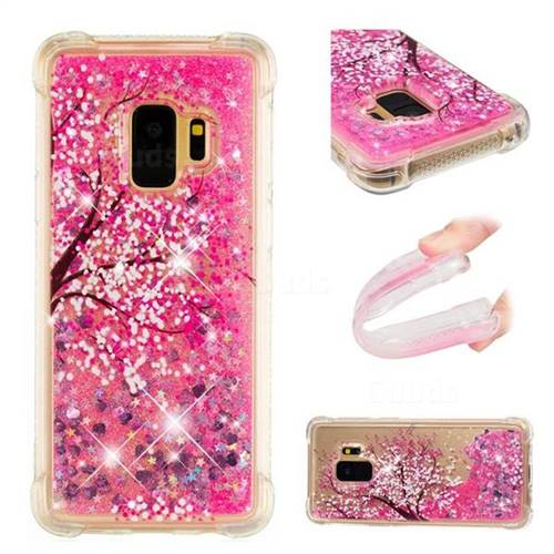 Pink Cherry Blossom Dynamic Liquid Glitter Sand Quicksand Star TPU Case for Samsung Galaxy S9