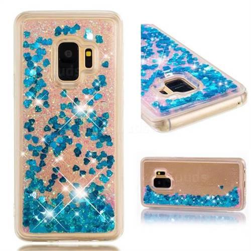 Dynamic Liquid Glitter Quicksand Sequins TPU Phone Case for Samsung Galaxy S9 - Blue