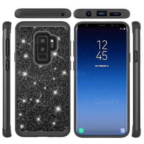 Glitter Rhinestone Bling Shock Absorbing Hybrid Defender Rugged Phone Case Cover for Samsung Galaxy S9 - Black