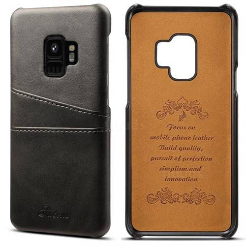 Suteni Retro Classic Card Slots Calf Leather Coated Back Cover for Samsung Galaxy S9 - Black