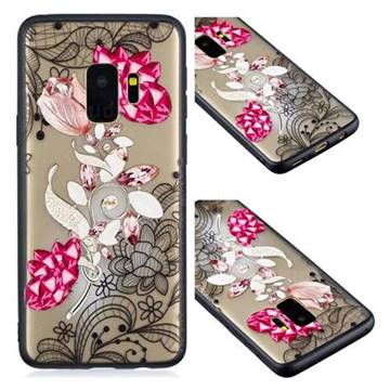 Tulip Lace Diamond Flower Soft TPU Back Cover for Samsung Galaxy S9
