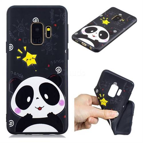 Cute Bear 3D Embossed Relief Black TPU Cell Phone Back Cover for Samsung Galaxy S9
