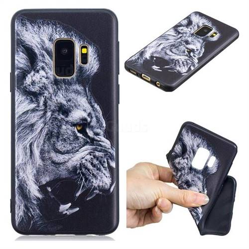 Lion 3D Embossed Relief Black TPU Cell Phone Back Cover for Samsung Galaxy S9