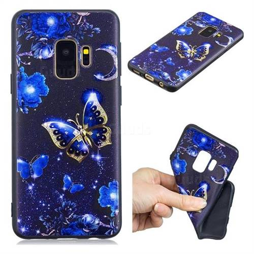 Phnom Penh Butterfly 3D Embossed Relief Black TPU Cell Phone Back Cover for Samsung Galaxy S9