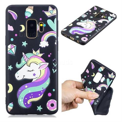 Candy Unicorn 3D Embossed Relief Black TPU Cell Phone Back Cover for Samsung Galaxy S9