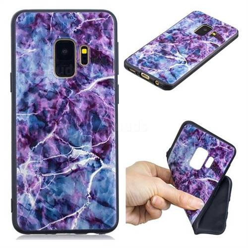 Marble 3D Embossed Relief Black TPU Cell Phone Back Cover for Samsung Galaxy S9