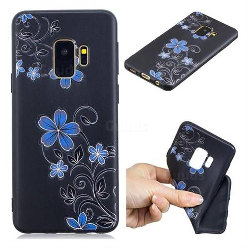Little Blue Flowers 3D Embossed Relief Black TPU Cell Phone Back Cover for Samsung Galaxy S9