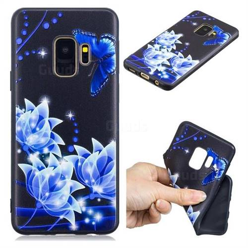 Blue Butterfly 3D Embossed Relief Black TPU Cell Phone Back Cover for Samsung Galaxy S9