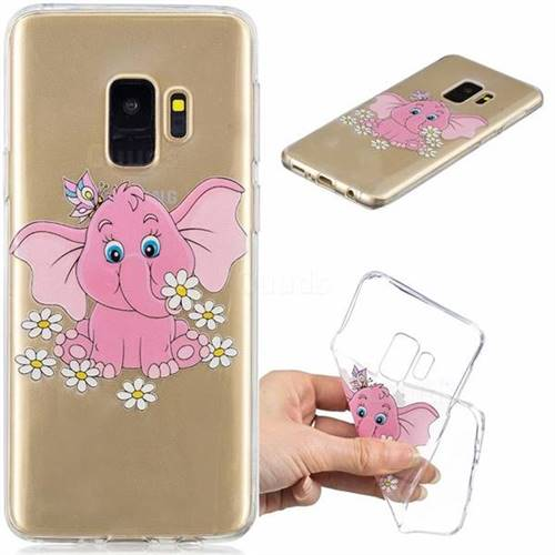 Tiny Pink Elephant Clear Varnish Soft Phone Back Cover for Samsung Galaxy S9