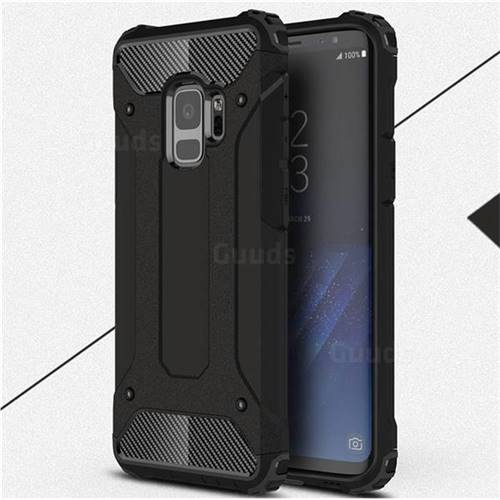 King Kong Armor Premium Shockproof Dual Layer Rugged Hard Cover for Samsung Galaxy S9 - Black Gold