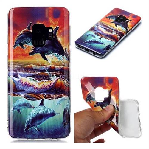 Flying Dolphin Soft TPU Cell Phone Back Cover for Samsung Galaxy S9
