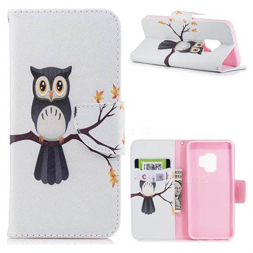 Owl on Tree Leather Wallet Case for Samsung Galaxy S9