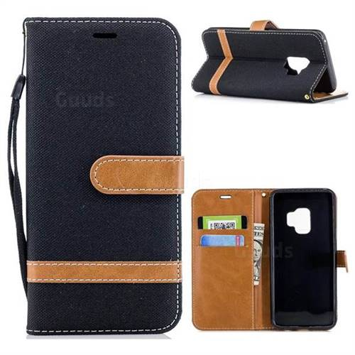 Jeans Cowboy Denim Leather Wallet Case for Samsung Galaxy S9 - Black