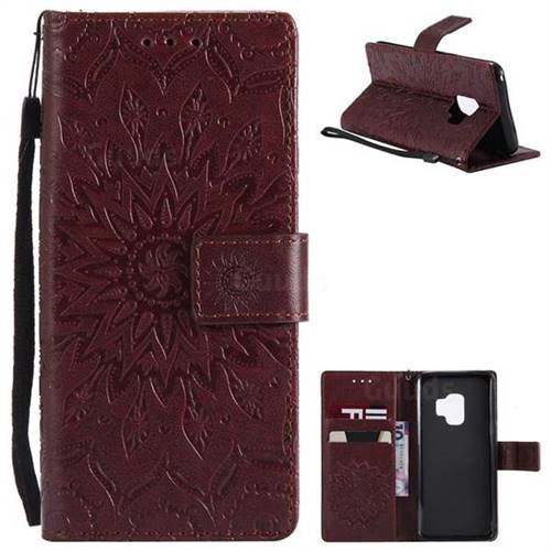 Embossing Sunflower Leather Wallet Case for Samsung Galaxy S9 - Brown