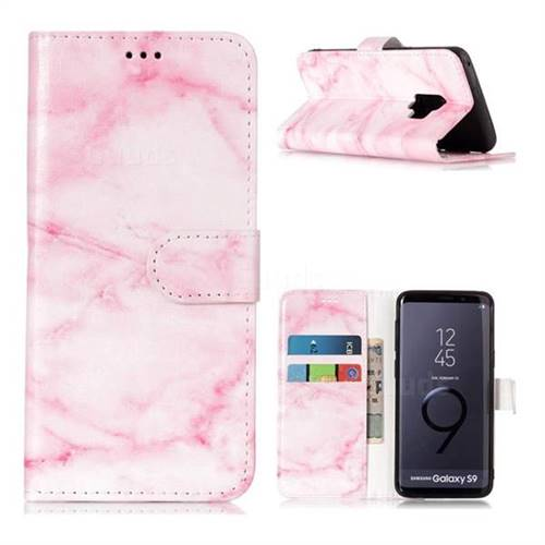 Pink Marble PU Leather Wallet Case for Samsung Galaxy S9