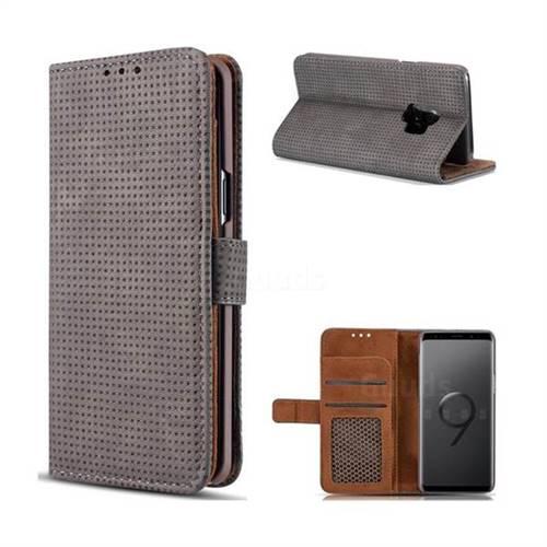 Luxury Vintage Mesh Monternet Leather Wallet Case for Samsung Galaxy S9 - Black