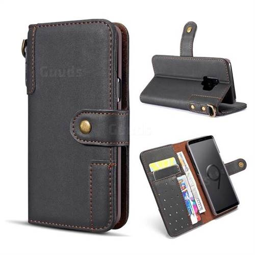 Retro Luxury Cowhide Leather Wallet Case for Samsung Galaxy S9 - Black