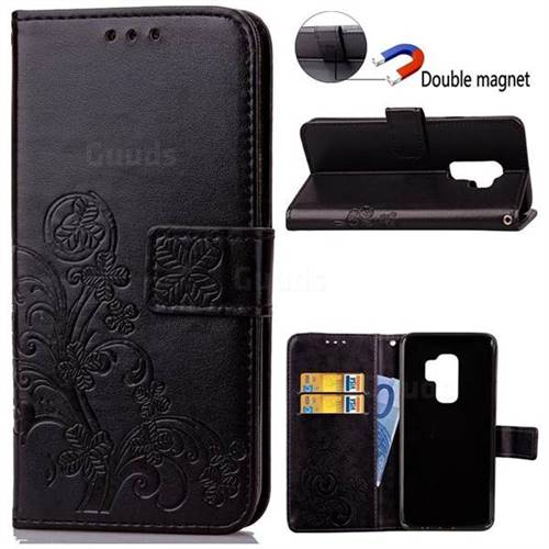 Embossing Imprint Four-Leaf Clover Leather Wallet Case for Samsung Galaxy S9 - Black
