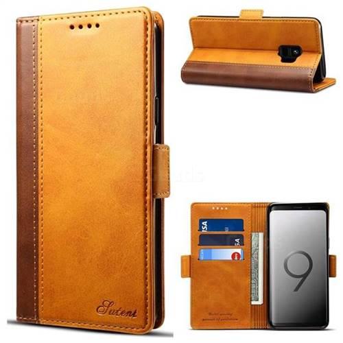 Suteni Calf Stripe Dual Color Leather Wallet Flip Case for Samsung Galaxy S9 - Khaki