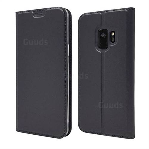 Ultra Slim Card Magnetic Automatic Suction Leather Wallet Case for Samsung Galaxy S9 - Star Grey