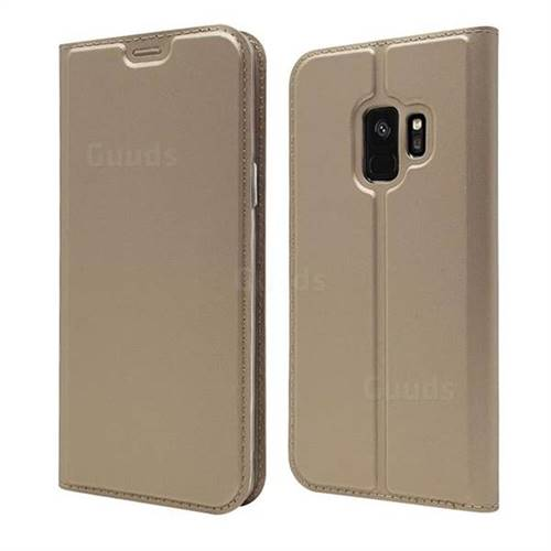 Ultra Slim Card Magnetic Automatic Suction Leather Wallet Case for Samsung Galaxy S9 - Champagne