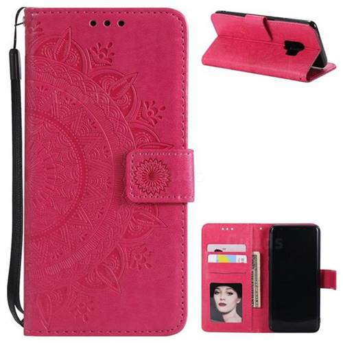 Intricate Embossing Datura Leather Wallet Case for Samsung Galaxy S9 - Rose Red
