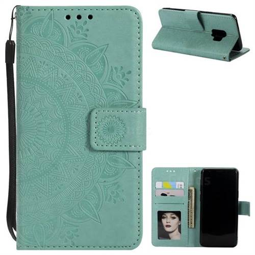 Intricate Embossing Datura Leather Wallet Case for Samsung Galaxy S9 - Mint Green