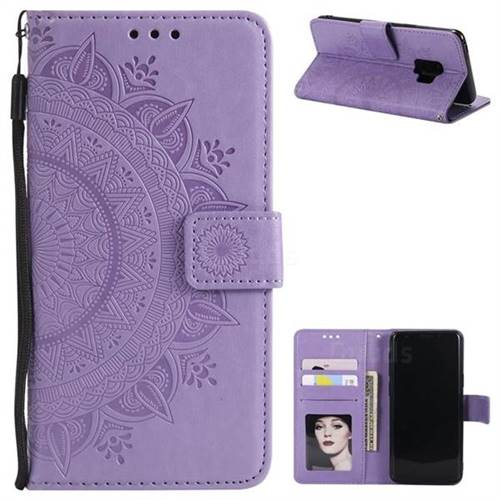 Intricate Embossing Datura Leather Wallet Case for Samsung Galaxy S9 - Purple