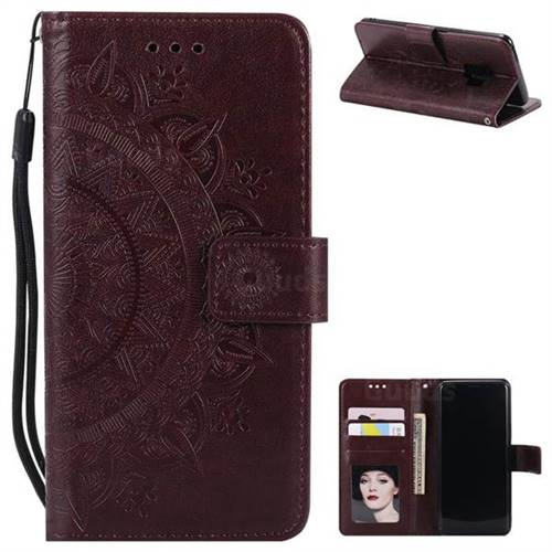 Intricate Embossing Datura Leather Wallet Case for Samsung Galaxy S9 - Brown