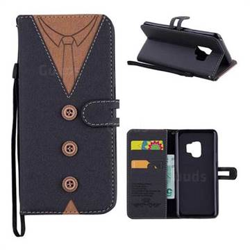 Mens Button Clothing Style Leather Wallet Phone Case for Samsung Galaxy S9 - Black