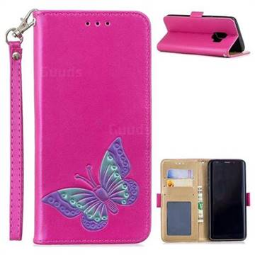 Imprint Embossing Butterfly Leather Wallet Case for Samsung Galaxy S9 - Rose Red