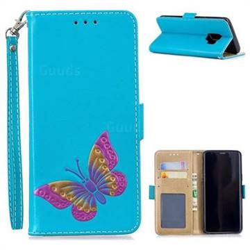 Imprint Embossing Butterfly Leather Wallet Case for Samsung Galaxy S9 - Sky Blue