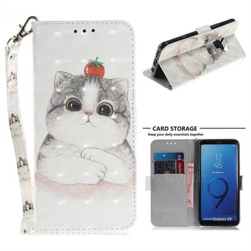 Cute Tomato Cat 3D Painted Leather Wallet Phone Case for Samsung Galaxy S9
