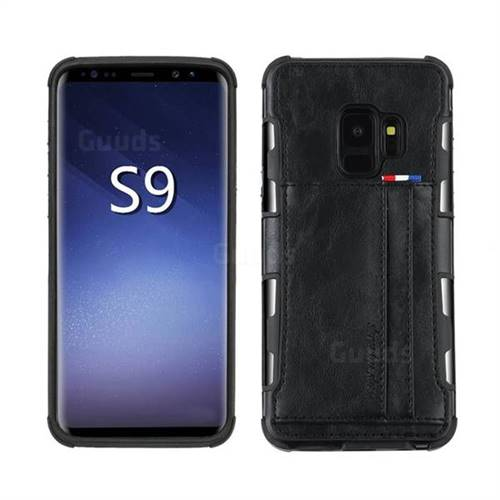 Luxury Shatter-resistant Leather Coated Card Phone Case for Samsung Galaxy S9 - Black