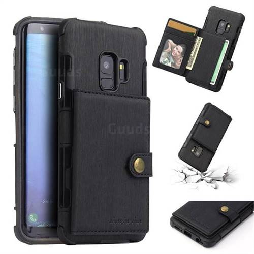 Brush Multi-function Leather Phone Case for Samsung Galaxy S9 - Black