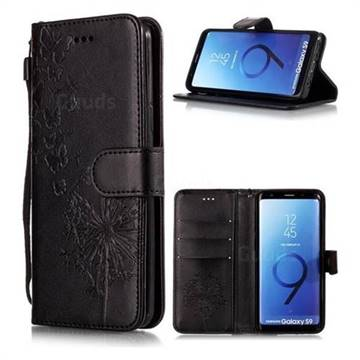 Intricate Embossing Dandelion Butterfly Leather Wallet Case for Samsung Galaxy S9 - Black