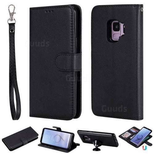 Retro Greek Detachable Magnetic PU Leather Wallet Phone Case for Samsung Galaxy S9 - Black