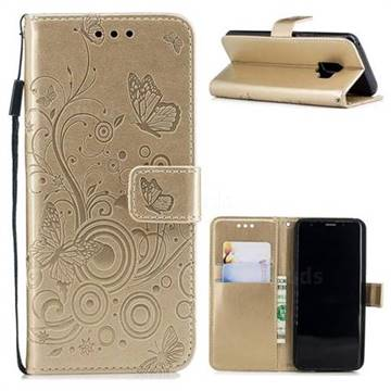 Intricate Embossing Butterfly Circle Leather Wallet Case for Samsung Galaxy S9 - Champagne